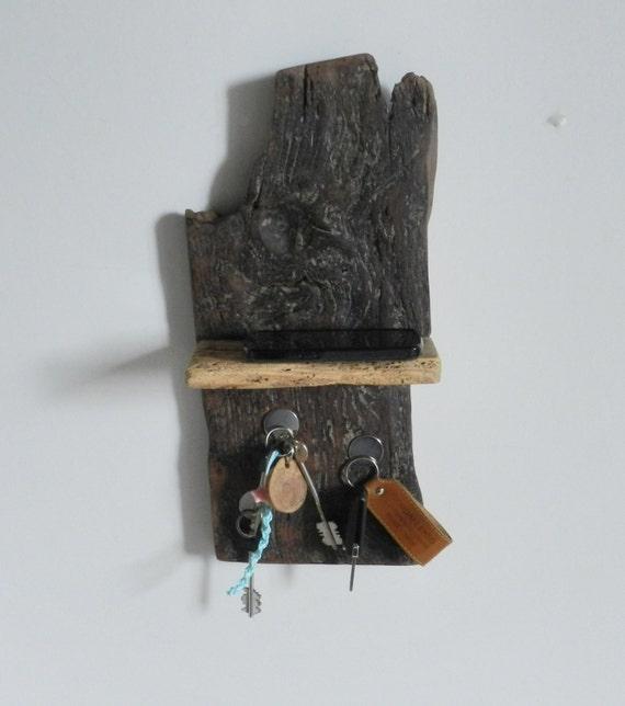 Rustic Wooden Magnetic Key Holder Shelf Natural Wood Home