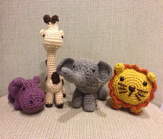 Crochet Patterns Jungle Animals : Set of 4 Adorable Crocheted Jungle Animals Lion Elephant