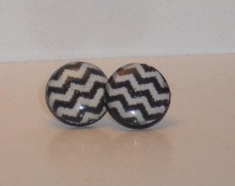 Black and White Chevron Post Earrings