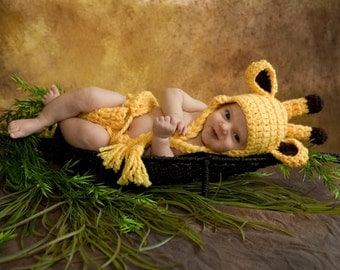 Giraffe Baby Hat and Diaper Cover, Toboggan, Giraffe Costume, gifts Beanie Crochet Kids Toddler Child Photography Prop