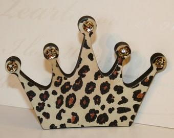 Housewarming gift, Leopard crown magnet, Fridge magnet, Princess crown magnet, Leopard print decor,  Decoupage magnets