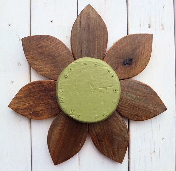 Wood Flower Wall Decor : Reclaimed wood wall art wooden flower custom by