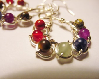7 Chakra Earrings, Sterling Silver Upgrade, Gemstones, Balance, Harmonize Energy Centers, Reiki Jewelry, Gift Idea, FREE SHIPPING