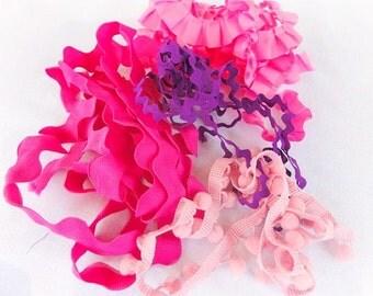 8 Plus Yds. Purple and Pink Rick Rack De Stash, Trim, Ruffled, Pom Pom,