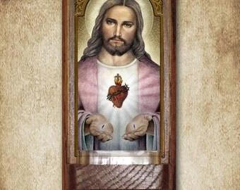 """Sacred Heart Holy Water Font, Oak, Catholic, 7.5"""" x 3.5"""", Free Shipping"""
