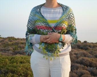 free worldwide shipping,handmade mohair triangle crochet shawl,cowl,neckwarmer with green tones flower ready to ship