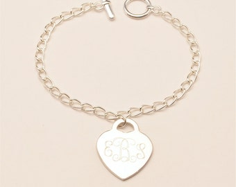 Custom Engraved Monogram Heart Charm Bracelet, Personalized Bridesmaid Gift, Flower Girl Gift, Personalized Jewelry