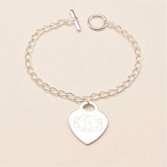 Engraved Charm Bracelet: FREE SHIPPING Custom Engraved Monogram Heart Charm Bracelet