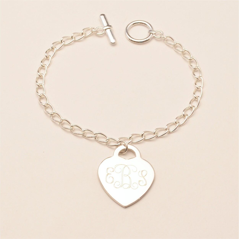 Engraved Charm Bracelet: Custom Engraved Monogram Heart Charm Bracelet Personalized
