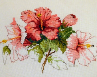 Embroidered Cross Stitch Hibiscus Flower Sampler (not framed)