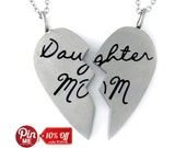 "Mother Heart Necklace Mom Daughter Necklace Necklace Set (2pcs) 18"" Chains Included"
