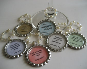 Bible Verse Wine Glass Charms Scripture Charms Set of 6