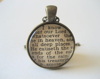 The Lord is Great Scripture Necklace Bible Verse Psalm 135:5-7 From an Antique Bible OOAK