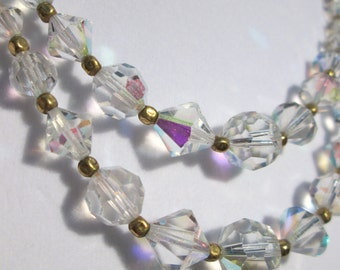 Vintage Crystal and gold bead double strand necklace