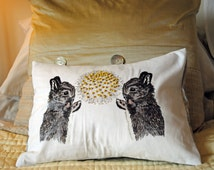 Easter Rabbit and Dandelion Beaded Cushion Cover Summer Nature Sunshine Animal Lover Gift Homewares