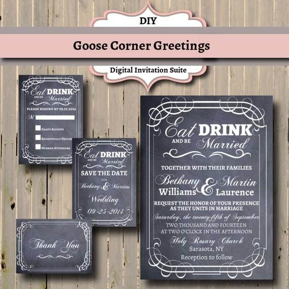 Diy Chalkboard Wedding Invitations: Chalkboard Wedding Invitation Suite Eat By
