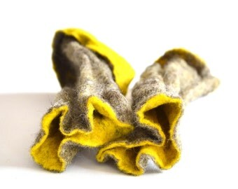 Mittens Felted Gray  Yellow Arm Warmers /  Fingerless Gloves / Cuffs /  Eco friendly Natural wool