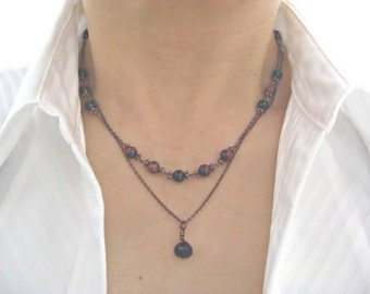 Black Onyx, Red Tiger Eye Double Strand Necklace, Gift for her