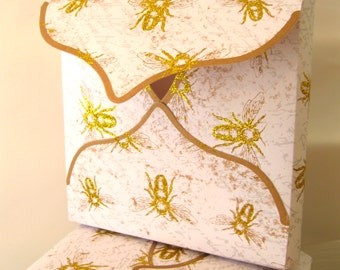 Gold Glitter Bee Gift Boxes Envelope Boxes White and gold 5-1/2 x 5-1/2 x 7/8- Qty 5, Handmade Paper Goods Fancy gift boxes