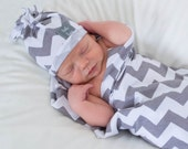 Grey and white jersey knit chevron swaddle blanket 29x35 Soothing blanket. Stroller blanket. receiving