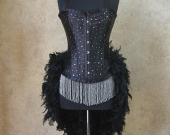 MEDIUM-Black Scattered Crystal Pin Up Showgirl Saloon Girl Can Can Moulin Burlesque Costume w/Feather Train