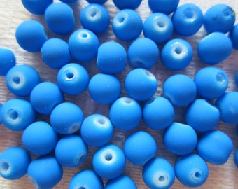 25  Neon Coated Bright Blue Round Glass Beads   6mm