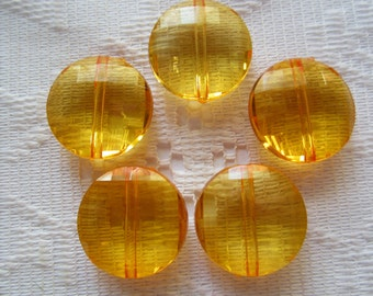 8  Light Orange Transparent Faceted Flat Round Disc Acrylic Beads  20mm