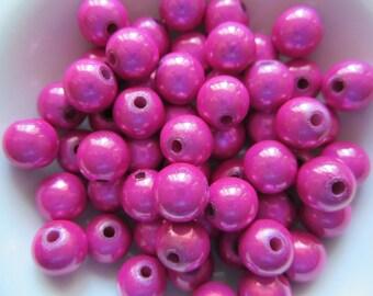 26  Hot Hot Pink Fuchsia Magenta Shiny Luster Miracle Wonder Acrylic Beads  6mm