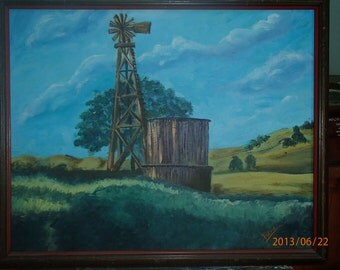 """Days Gone By - An original 16 x 20"""" oil painting of a water tower and windmill from the olden days in a stained wooden frame"""