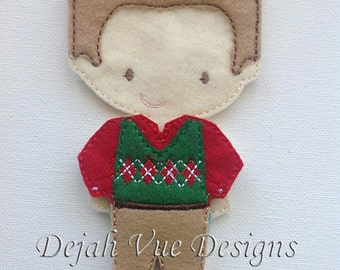Christmas Outfit for Boy Felt Doll Embroidery Design