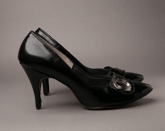 1950s Black Patent Leather High Heels