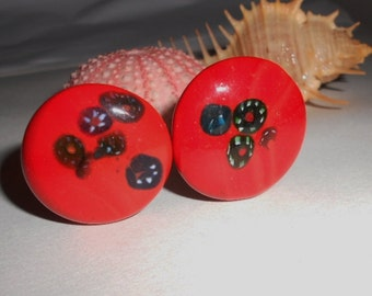 Vintage red earrings, Earrings Red and Black glass buttons Vintage 1960s jewelry