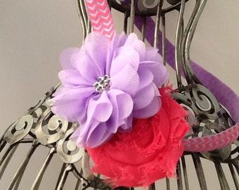 Lavender and watermelon pink headband, girls flower headband hair accessory, shabby chic  headband, girls headband, baby headband