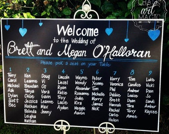 Wedding chalkboard seating chart sign.
