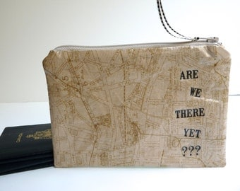 Passport Pouch - Passport Case - Zippered Pouch - Water Resistent Pouch - Fabric Pouch - Cosmetic Pouch - Tea Stained Map