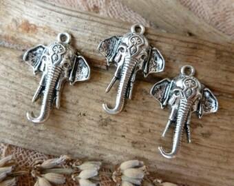4x Ganesha  Elephant Charms, Antique Silver Pendants C418