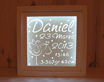 Birth Lamp, Baby Lighting ,   Personalized Nigth Ligth, Birth Announcement