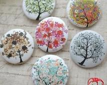 6pcs 30mm Fabric Button Set - Season Forest Tree (ST160FB)