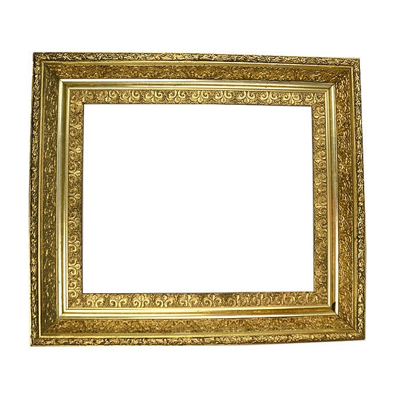 Antique Picture Frame Gold Gilded Gesso An Ornate Oil Painting