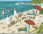 BOXED HOLIDAY CARDS of Beach Scene: whimsical. reproductions of original artwork by Michelle Winters