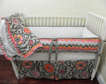 Custom Baby Bedding Set Zoey - Chevron and Vine in Gray, Orange, and Hot Pink