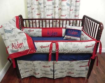 Custom Airplane Crib Bedding Set Aiden - Boy Baby Bedding, Airplane Baby Bedding, Navy and Red Crib Bedding
