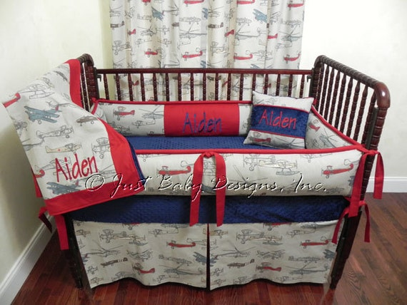 Custom airplane crib bedding set aiden boy baby bedding - Airplane baby bedding sets ...