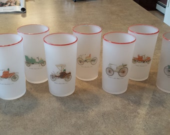 1950's Vintage - Set of 8 Frosted Iced Tea Glasses
