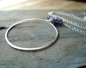 Erie Necklace Indigo Iolite Hoop Sterling Silver Modern Metalworked Gemstone Jewelry Cluster Necklace Gifts Under 100