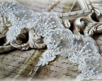 Tresors   White  Beaded and Sequins Bridal Trim, Alencon Lace Trim for Bridal Gowns, Veils, Couture Gowns, Sashes, Crafting, GL-148