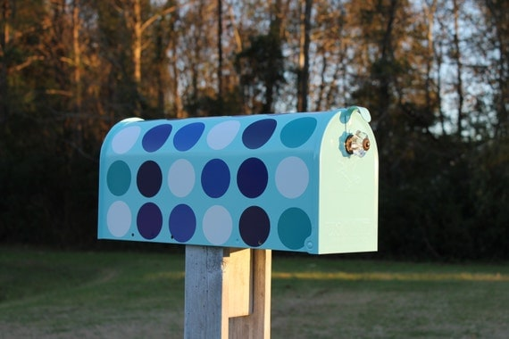 Indigo Blue Dot Mailbox with a Crystal Knob