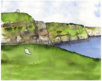 Cliffs of Moher - Ireland Painting - Fine Art Print - Ireland art - Sheep Painting