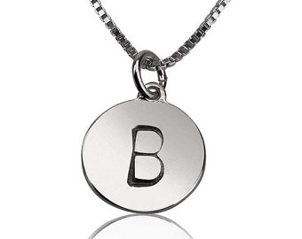 Initial Monogram SILVER Necklace, Tiny Initial charm Necklace, Simple daily Jewelry, Bridesmaids Gift, Mother's jewelry