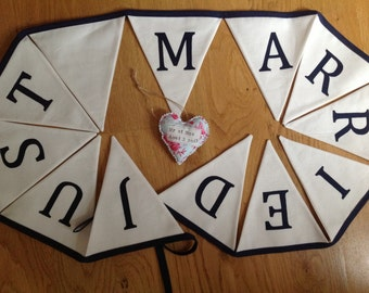 Just Married Wedding Bunting - your choice of colour